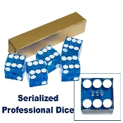 19mm A Grade Serialized Set of Casino Dice - Blue